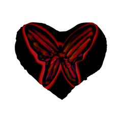 Red butterfly Standard 16  Premium Flano Heart Shape Cushions