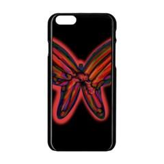 Red butterfly Apple iPhone 6/6S Black Enamel Case