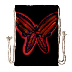 Red butterfly Drawstring Bag (Large)