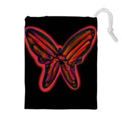 Red butterfly Drawstring Pouches (Extra Large)