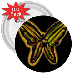 Night butterfly 3  Buttons (100 pack)