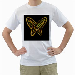 Night butterfly Men s T-Shirt (White) (Two Sided)