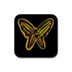 Night butterfly Rubber Square Coaster (4 pack)