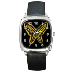 Night butterfly Square Metal Watch