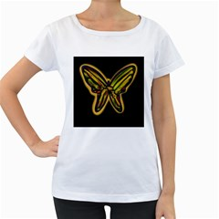 Night butterfly Women s Loose-Fit T-Shirt (White)