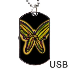 Night butterfly Dog Tag USB Flash (One Side)