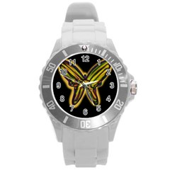 Night butterfly Round Plastic Sport Watch (L)