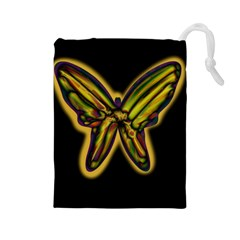 Night butterfly Drawstring Pouches (Large)
