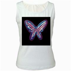 Neon butterfly Women s White Tank Top