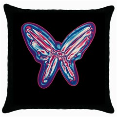 Neon butterfly Throw Pillow Case (Black)
