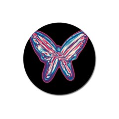 Neon butterfly Magnet 3  (Round)