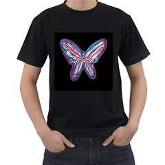 Neon butterfly Men s T-Shirt (Black) (Two Sided)
