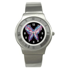 Neon butterfly Stainless Steel Watch