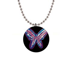 Neon butterfly Button Necklaces