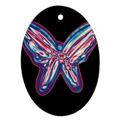 Neon butterfly Oval Ornament (Two Sides)