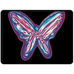 Neon butterfly Fleece Blanket (Large)