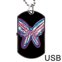 Neon butterfly Dog Tag USB Flash (One Side)