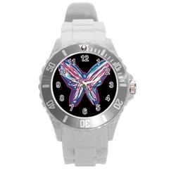 Neon butterfly Round Plastic Sport Watch (L)