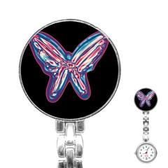 Neon butterfly Stainless Steel Nurses Watch