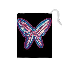 Neon butterfly Drawstring Pouches (Medium)