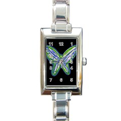 Green neon butterfly Rectangle Italian Charm Watch