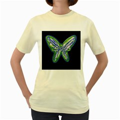 Green neon butterfly Women s Yellow T-Shirt