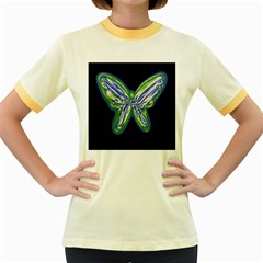 Green neon butterfly Women s Fitted Ringer T-Shirts