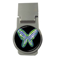 Green neon butterfly Money Clips (Round)