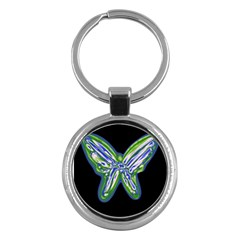 Green neon butterfly Key Chains (Round)