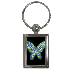 Green neon butterfly Key Chains (Rectangle)