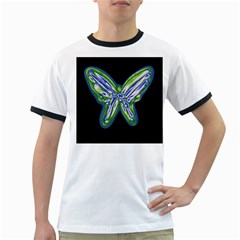 Green neon butterfly Ringer T-Shirts