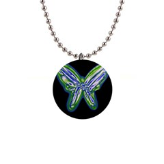 Green neon butterfly Button Necklaces