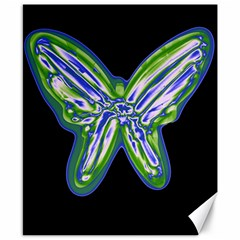 Green neon butterfly Canvas 8  x 10