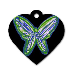 Green neon butterfly Dog Tag Heart (Two Sides)