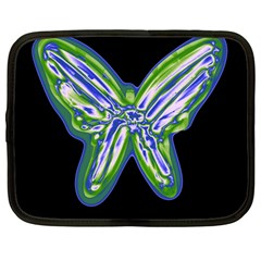 Green neon butterfly Netbook Case (Large)