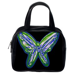 Green neon butterfly Classic Handbags (One Side)