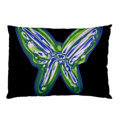 Green neon butterfly Pillow Case