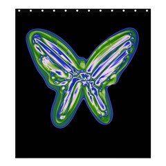 Green neon butterfly Shower Curtain 66  x 72  (Large)