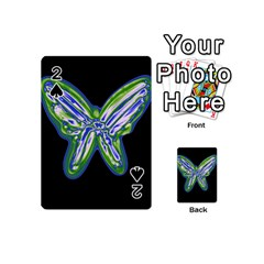 Green neon butterfly Playing Cards 54 (Mini)