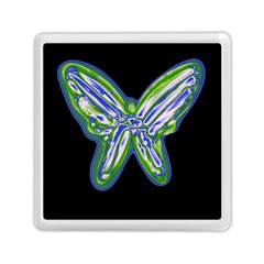 Green neon butterfly Memory Card Reader (Square)