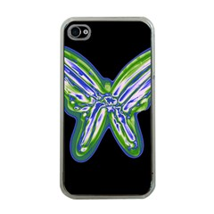 Green neon butterfly Apple iPhone 4 Case (Clear)