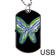 Green neon butterfly Dog Tag USB Flash (One Side)