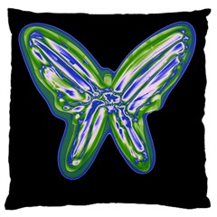 Green neon butterfly Large Cushion Case (One Side)