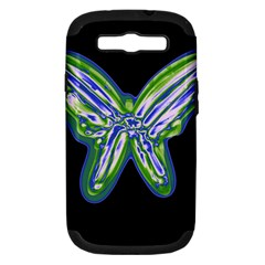 Green neon butterfly Samsung Galaxy S III Hardshell Case (PC+Silicone)