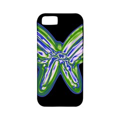 Green neon butterfly Apple iPhone 5 Classic Hardshell Case (PC+Silicone)