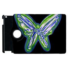 Green neon butterfly Apple iPad 3/4 Flip 360 Case