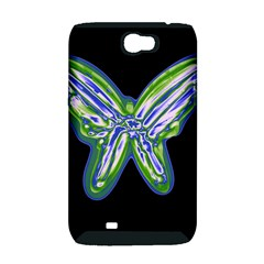 Green neon butterfly Samsung Galaxy Note 2 Hardshell Case (PC+Silicone)