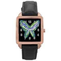 Green neon butterfly Rose Gold Leather Watch