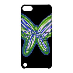 Green neon butterfly Apple iPod Touch 5 Hardshell Case with Stand