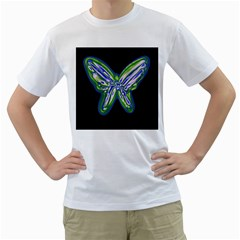 Green neon butterfly Men s T-Shirt (White)